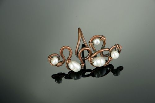 Ring with river pearls - MADEheart.com
