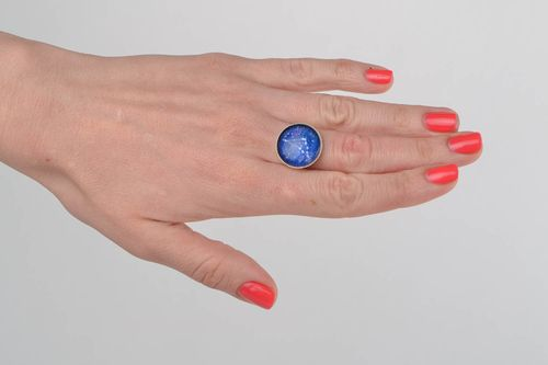 Beautiful handmade blue glass round top zodiac ring on metal basis Capricorn - MADEheart.com