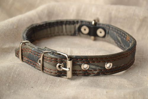 Camouflage leather dog collar - MADEheart.com