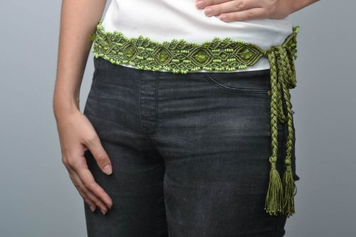 Macrame braided belt handmade woven belt macrame accessories belt for women - MADEheart.com