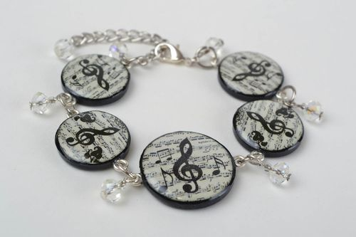 Beautiful handmade polymer clay decoupage bracelet on chain basis Notes - MADEheart.com