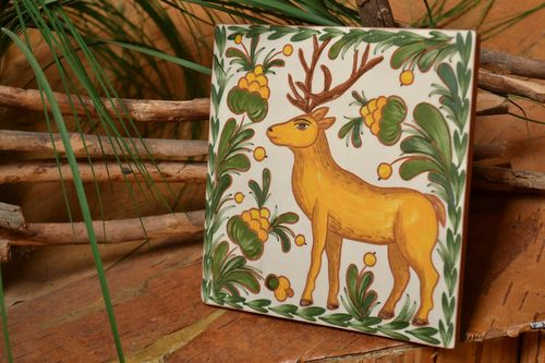 Ceramic decorative tile painted with engobes handmade wall panel with deer - MADEheart.com