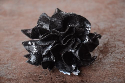 Handmade leather scrunchies leather hair accessories flower scrunchy for women - MADEheart.com