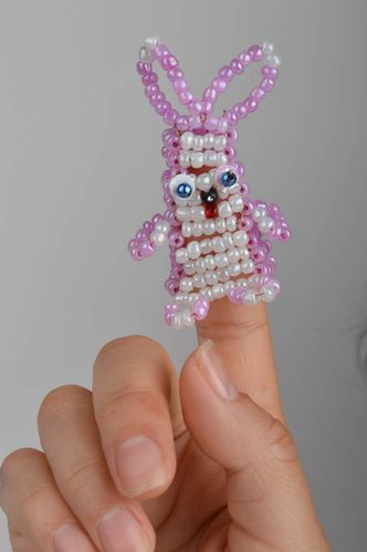 Finger toy purple bunny made of Chinese beads handmade gift for children - MADEheart.com