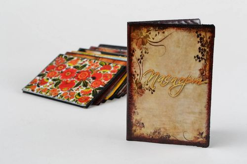 Handmade brown faux leather passport cover with decoupage in retro style - MADEheart.com