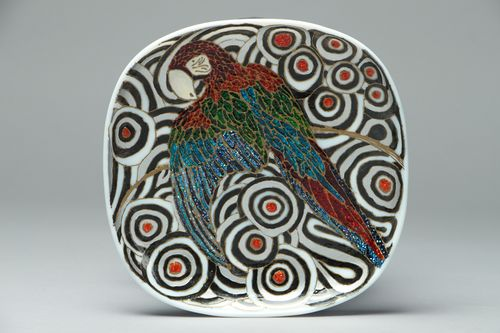 Decorative stained glass plate Parrot - MADEheart.com