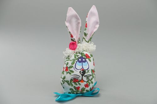 Handmade soft toy sewn of coarse calico fabric Easter Rabbit interior decoration - MADEheart.com