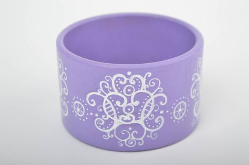 Lilac painted bracelet handmade wrist bracelet wooden accessories women jewelry  - MADEheart.com