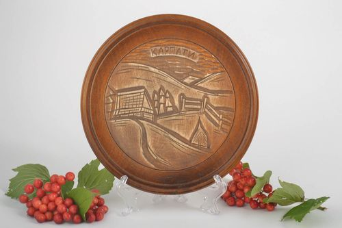 Decorative plate handmade gifts wood wall decor wooden plate housewarming gifts - MADEheart.com