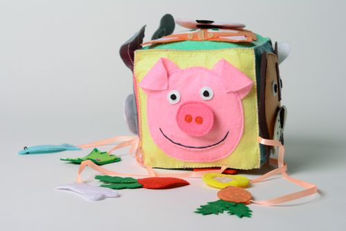 Colorful handmade educational cube sewn of felt with ribbons and charms for kids - MADEheart.com