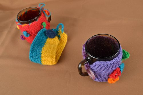 Glass cup with crochet cozy Violet - MADEheart.com