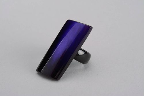 Rectangular horn ring Ultramarine - MADEheart.com
