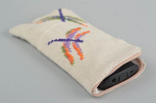 Handmade hemp fabric mobile phone case with cross stitch embroidery Dragonflies - MADEheart.com