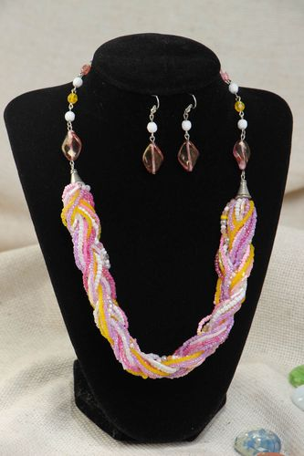 Handmade colorful beaded jewelry set 2 accessories earrings and necklace - MADEheart.com