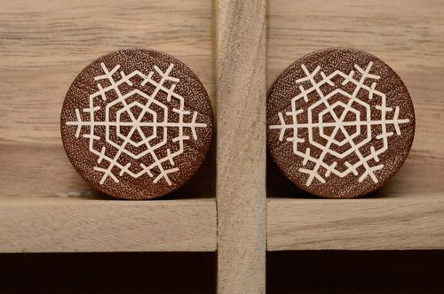 Handmade wooden plugs with snowflakes - MADEheart.com