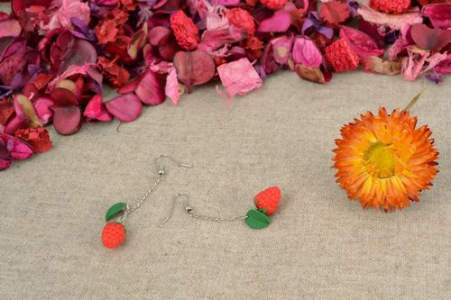Long polymer clay earrings Raspberry - MADEheart.com