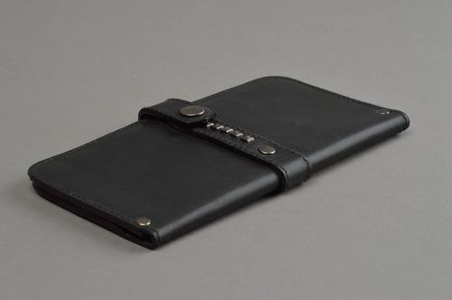 Handmade leather wallet black leather wallet mens accessories gifts for men - MADEheart.com