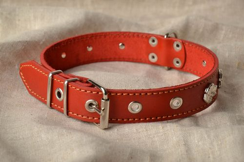 Brown genuine leather dog collar - MADEheart.com