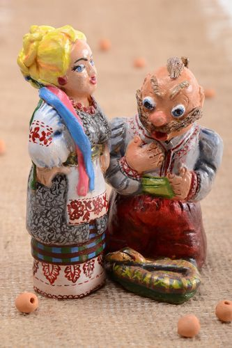 Handmade painted pottery stylish ceramic figurine designer statuette 2 pieces - MADEheart.com
