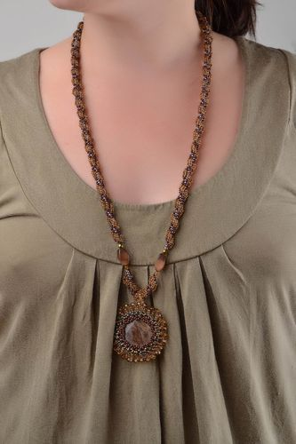 Handmade beaded pendant with natural stones long brown designer accessory - MADEheart.com