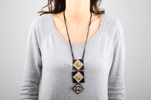 Leather necklace handmade leather jewelry stylish accessories fashion jewelry - MADEheart.com