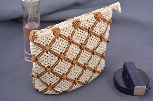 Handmade decorative small beige and brown macrame woven cosmetics bag - MADEheart.com