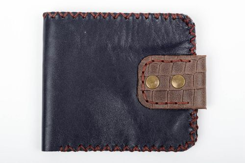 Leather handmade wallet blue unisex purse unusual designer accessory cute gift - MADEheart.com