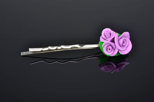 Beautiful polymer clay hairpin Violet Roses - MADEheart.com