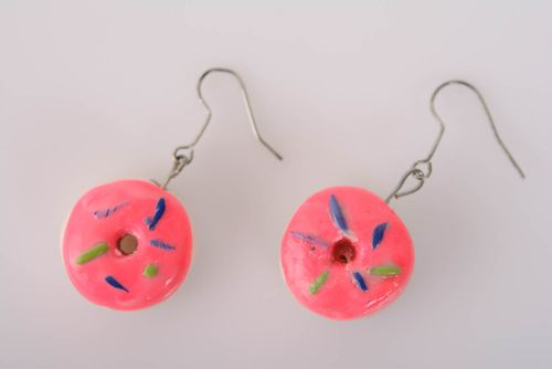 Handmade designer earrings with pendants made of polymer clay pink donuts - MADEheart.com