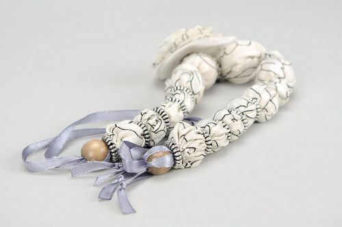 Beads made of organza and wood Stylish grey - MADEheart.com