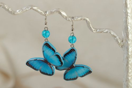 Unusual bright blue handmade polymer clay earrings in the shape of butterflies for summer - MADEheart.com