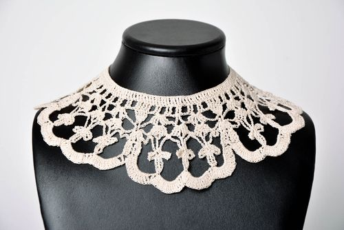 Stylish handmade textile collar crochet lace collar crochet ideas gifts for her - MADEheart.com