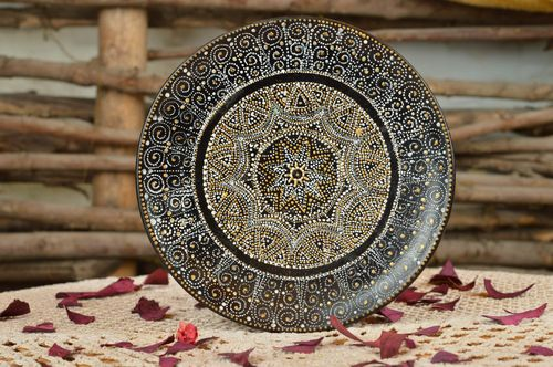 Handmade decorative black ceramic painted ceramic wall plate with rich ornament - MADEheart.com