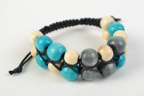 Handmade stylish bracelet with large colorful wooden beads trendy beautiful accesory - MADEheart.com
