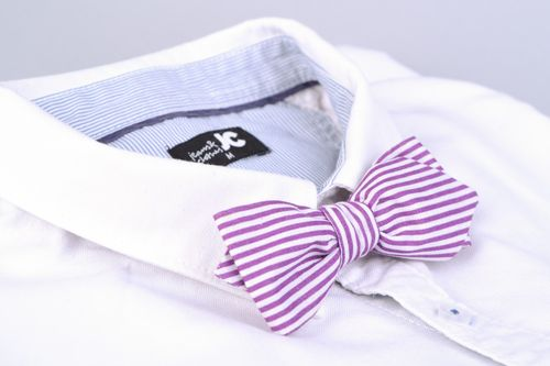 Handmade designer bow tie sewn of striped white and violet cotton fabric for men - MADEheart.com
