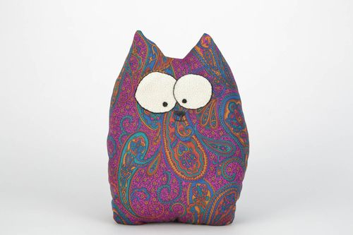 Handmade satin fabric soft pillow pet in the shape of surprised cat - MADEheart.com