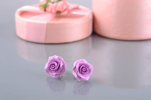 Polymer clay stud earrings in the shape of roses - MADEheart.com