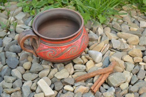 Handmade large red clay cup painted with glaze for 700 ml - MADEheart.com