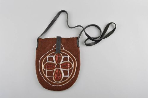 Handmade stylish brown bag unusual textile bag elegant female accessory - MADEheart.com