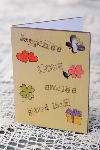 Designer plywood greeting card - MADEheart.com