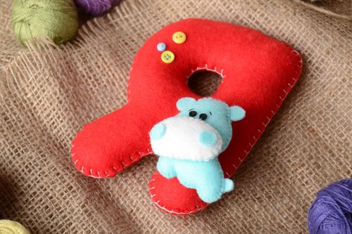 Handmade small red felt educational soft toy letter Я with blue hippo for kids - MADEheart.com