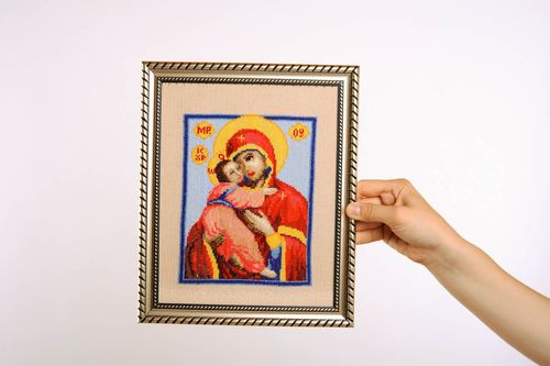 Icon with cross-stitch embroidery Mother of God - MADEheart.com