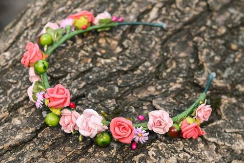 Headband, head wreath made from artificial flowers - MADEheart.com