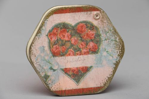 Vintage pocket mirror in decoupage wooden frame Rose Heart - MADEheart.com