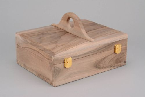 Wooden blank jewelry box with handles and sections - MADEheart.com