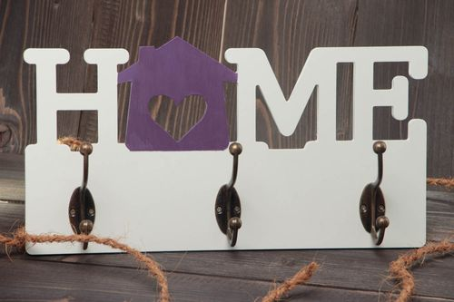 Handmade designer wall mounted plywood clothes hanger of white color Home - MADEheart.com