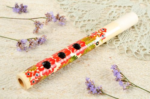 Handmade penny whistle wooden flute decorative use only unusual souvenir - MADEheart.com