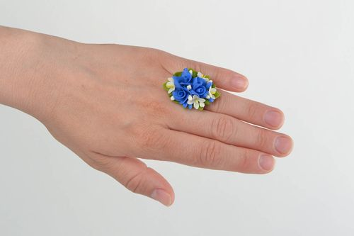 White and blue designer handmade cold porcelain flower ring of adjustable size - MADEheart.com