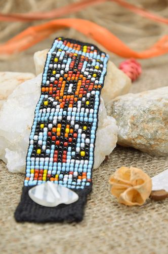 Black handmade wide beaded wrist bracelet with ornament for women - MADEheart.com
