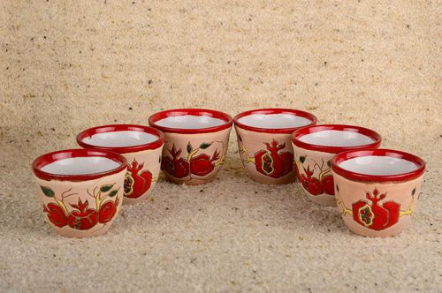 Handmade glasses set of 6 items unusual glass clay cup home decor gift ideas - MADEheart.com